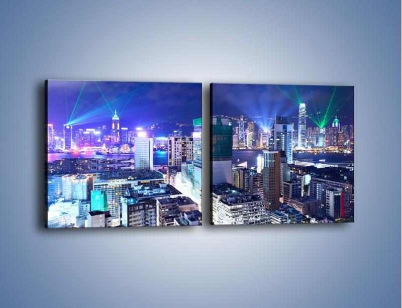 Obraz na płótnie – Pokaz laserów nad Hong Kongiem – dwuczęściowy kwadratowy poziomy AM796