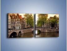 Obraz na płótnie – Amsterdamski kanał – dwuczęściowy kwadratowy poziomy AM800