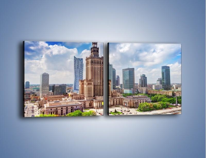 Obraz na płótnie – Pałac Kultury i Nauki w Warszawie – dwuczęściowy kwadratowy poziomy AM806