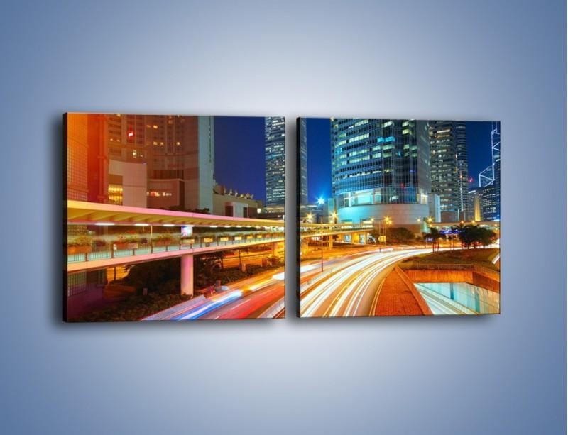 Obraz na płótnie – Nocne kolory miasta – dwuczęściowy kwadratowy poziomy AM808