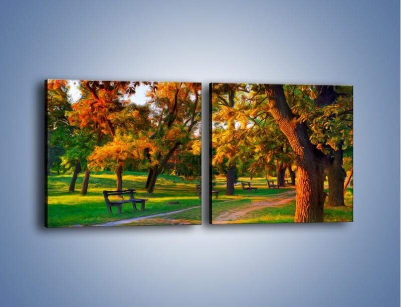 Obraz na płótnie – Ławeczka w parku – dwuczęściowy kwadratowy poziomy GR011