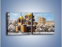 Obraz na płótnie – Cerkiew w trakcie zimy – dwuczęściowy kwadratowy poziomy GR024