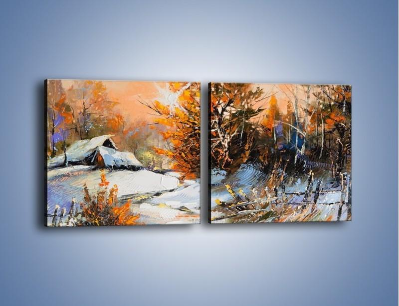 Obraz na płótnie – Zimowy klimat na wsi – dwuczęściowy kwadratowy poziomy GR027