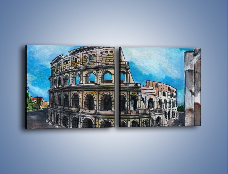 Obraz na płótnie – Znana budowla z bliska – dwuczęściowy kwadratowy poziomy GR039