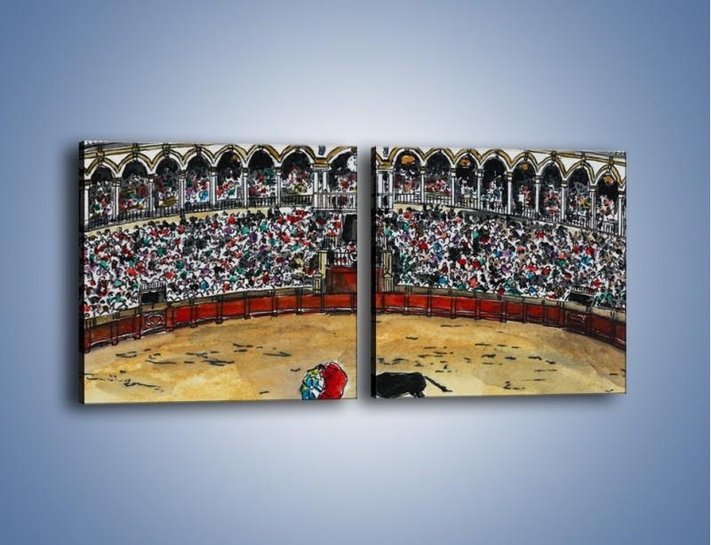 Obraz na płótnie – Walka torreadora z bykiem – dwuczęściowy kwadratowy poziomy GR040
