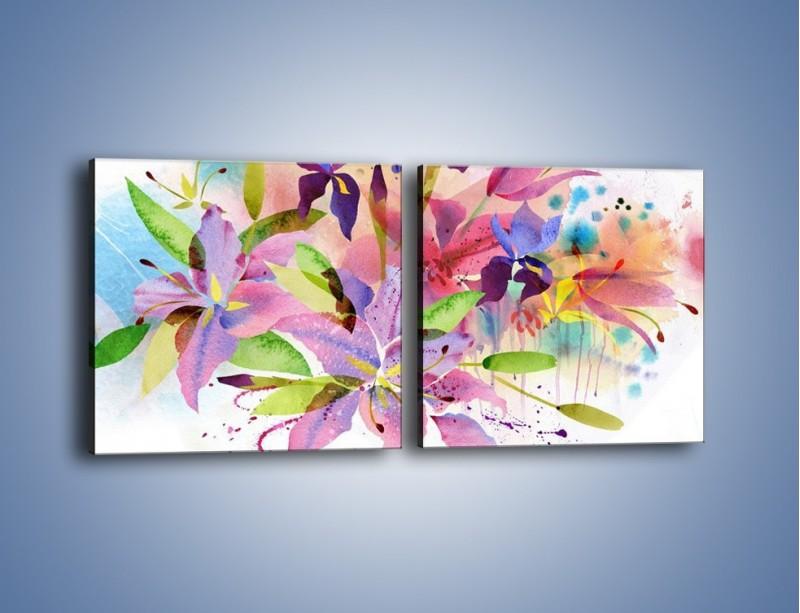 Obraz na płótnie – Kolory zachowane w kwiatach – dwuczęściowy kwadratowy poziomy GR043