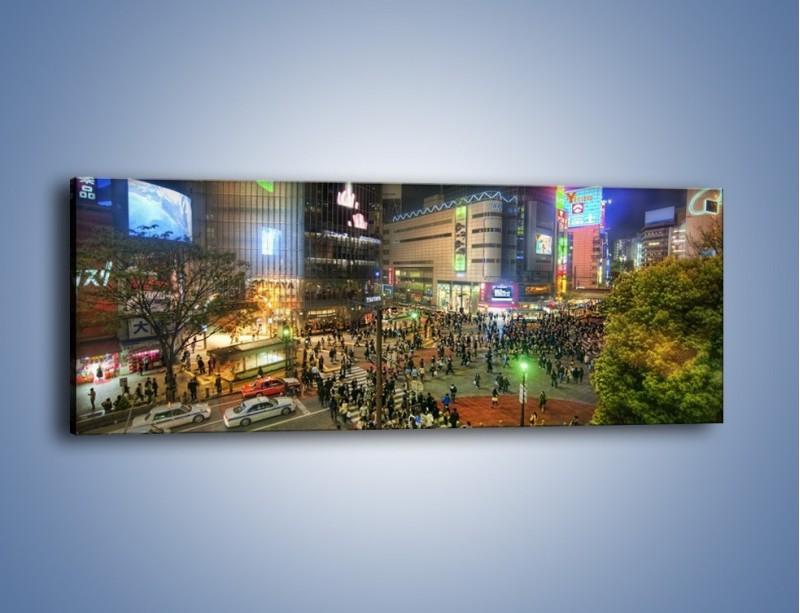 Obraz na płótnie – Zatłoczone ulice Toyko nocą – jednoczęściowy panoramiczny AM333