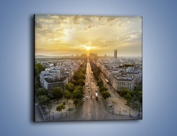 Obraz na płótnie – Zachód słońca nad Paryżem – jednoczęściowy kwadratowy AM649