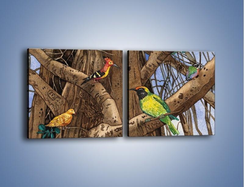 Obraz na płótnie – Mali przyjaciele na drzewie – dwuczęściowy kwadratowy poziomy GR050