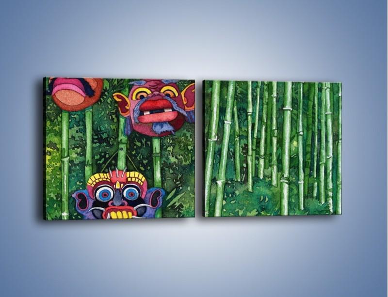 Obraz na płótnie – Maski dzikiego plemienia – dwuczęściowy kwadratowy poziomy GR051