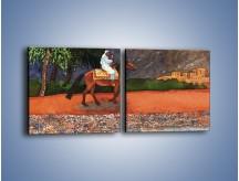 Obraz na płótnie – Arabski szejk na koniu – dwuczęściowy kwadratowy poziomy GR052