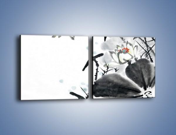 Obraz na płótnie – Kwiaty z kolorowym okiem – dwuczęściowy kwadratowy poziomy GR074