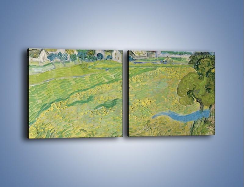 Obraz na płótnie – Łąka i małe domki – dwuczęściowy kwadratowy poziomy GR105