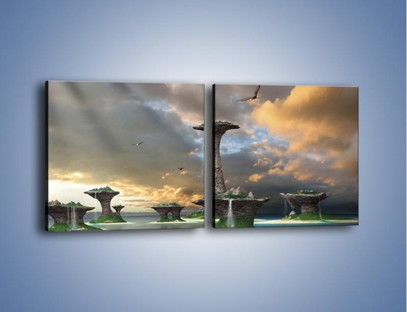 Obraz na płótnie – Kamienne fontanny pełne magii – dwuczęściowy kwadratowy poziomy GR130