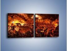 Obraz na płótnie – Bitwa z demonami – dwuczęściowy kwadratowy poziomy GR137