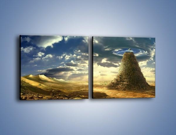Obraz na płótnie – Przez górę aż do chmur – dwuczęściowy kwadratowy poziomy GR139