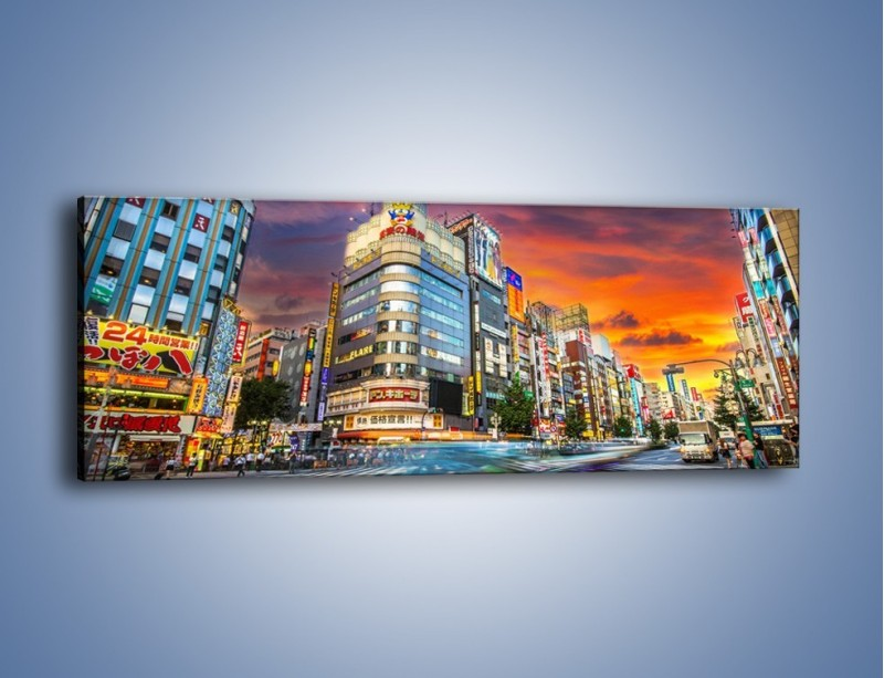 Obraz na płótnie – Tokyo na tle kolorowego nieba – jednoczęściowy panoramiczny AM336
