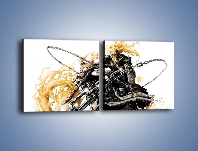 Obraz na płótnie – Mroczna postać na motorze – dwuczęściowy kwadratowy poziomy GR167