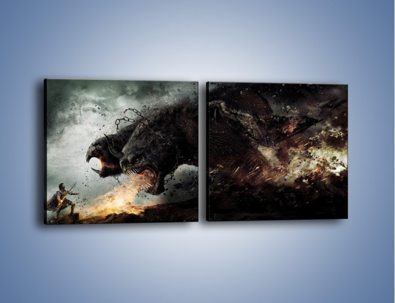 Obraz na płótnie – Groźny podmuch potworów – dwuczęściowy kwadratowy poziomy GR174