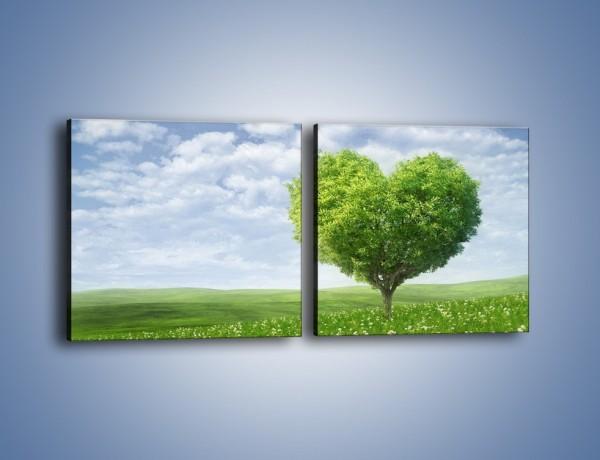 Obraz na płótnie – Miłość w zieleni – dwuczęściowy kwadratowy poziomy GR250
