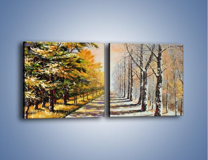 Obraz na płótnie – Trochę jesieni trochę zimy – dwuczęściowy kwadratowy poziomy GR292