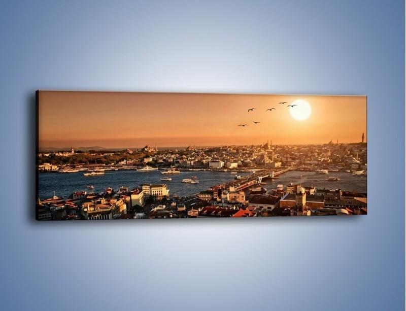 Obraz na płótnie – Istambuł o zachodzie słońca – jednoczęściowy panoramiczny AM339