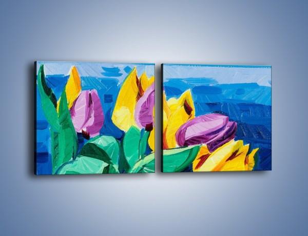 Obraz na płótnie – Kto nie lubi tulipanów – dwuczęściowy kwadratowy poziomy GR344