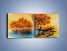 Obraz na płótnie – Drzewa nad samą wodą – dwuczęściowy kwadratowy poziomy GR352