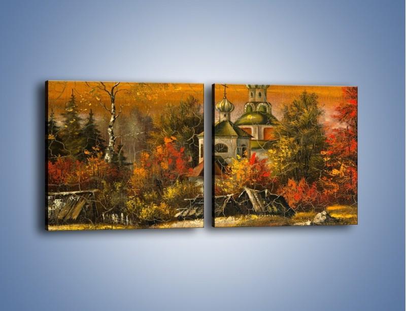 Obraz na płótnie – Kaplica późną jesienią – dwuczęściowy kwadratowy poziomy GR369