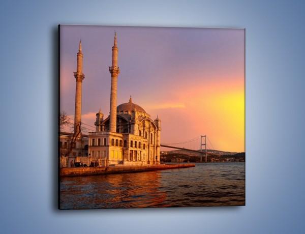 Obraz na płótnie – Meczet w blasku zachodzącego słońca – jednoczęściowy kwadratowy AM655