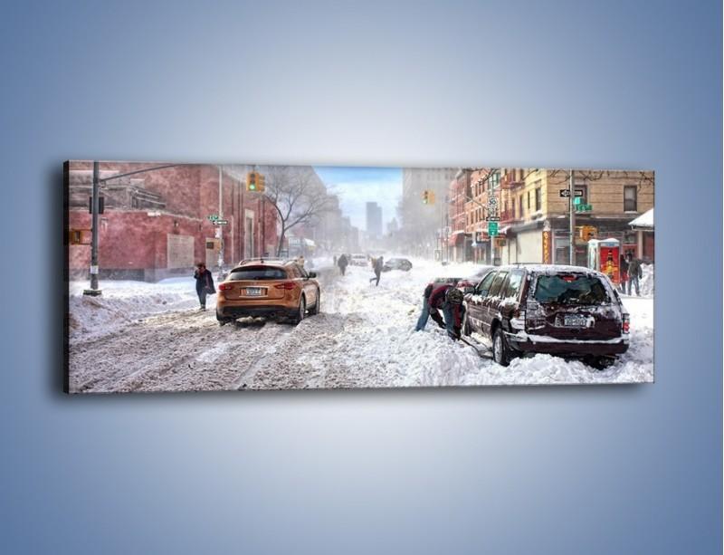 Obraz na płótnie – Zaśnieżone ulice miasta – jednoczęściowy panoramiczny AM342