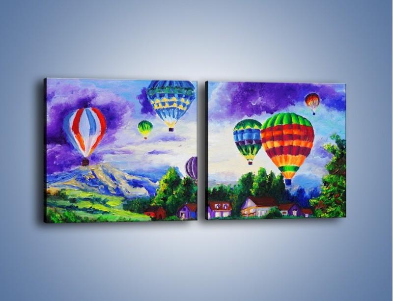 Obraz na płótnie – Lot kolorowym balonem – dwuczęściowy kwadratowy poziomy GR482