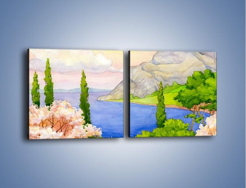 Obraz na płótnie – Krajobraz jak z pocztówki – dwuczęściowy kwadratowy poziomy GR541