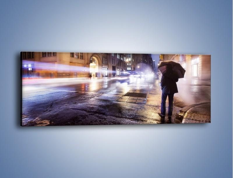 Obraz na płótnie – Deszczowa noc w Nowym Jorku – jednoczęściowy panoramiczny AM343