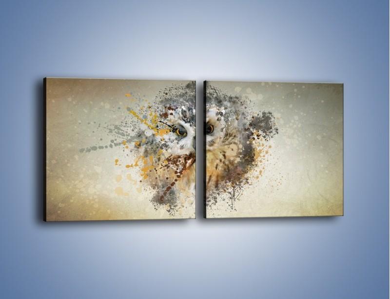 Obraz na płótnie – Czujne spojrzenie sowy – dwuczęściowy kwadratowy poziomy GR592