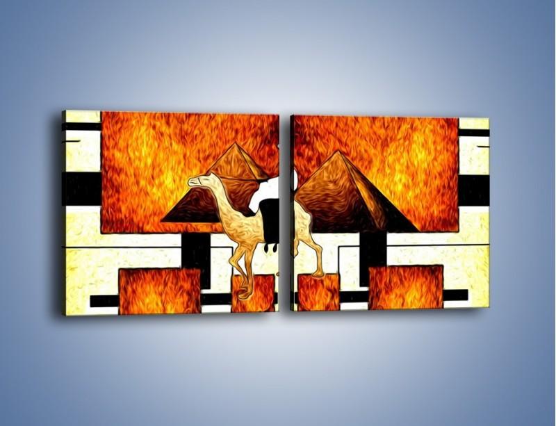Obraz na płótnie – Wędrówka na wielbłądzie – dwuczęściowy kwadratowy poziomy GR593