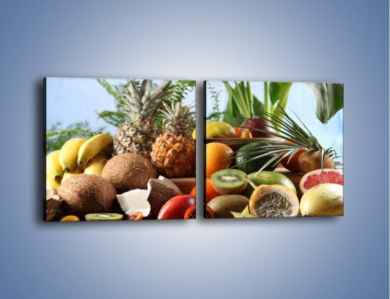 Obraz na płótnie – Mix owocowy na drewnianym stole – dwuczęściowy kwadratowy poziomy JN009