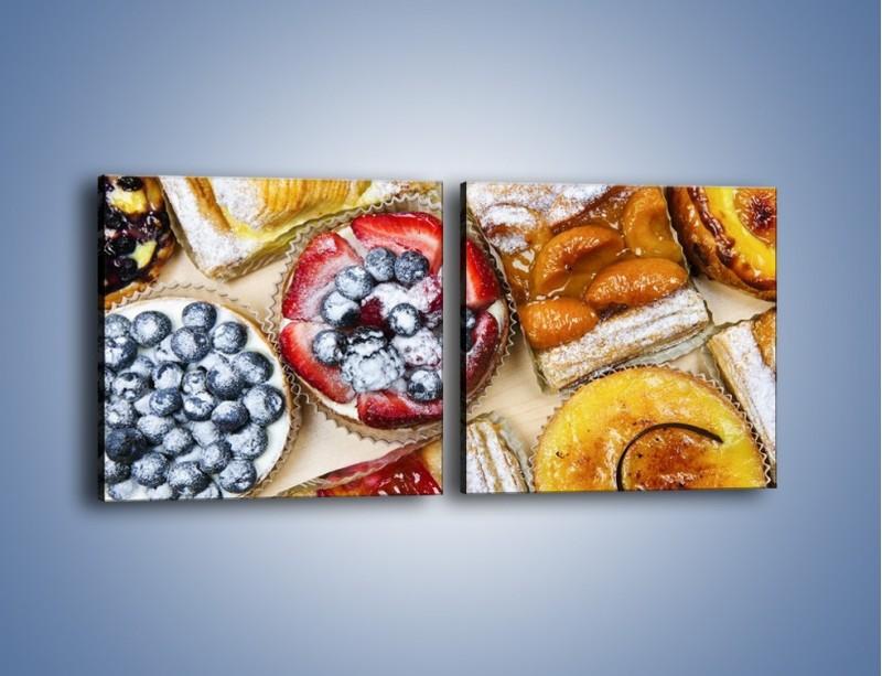 Obraz na płótnie – Kolorowe wypieki z dodatkiem owoców – dwuczęściowy kwadratowy poziomy JN032