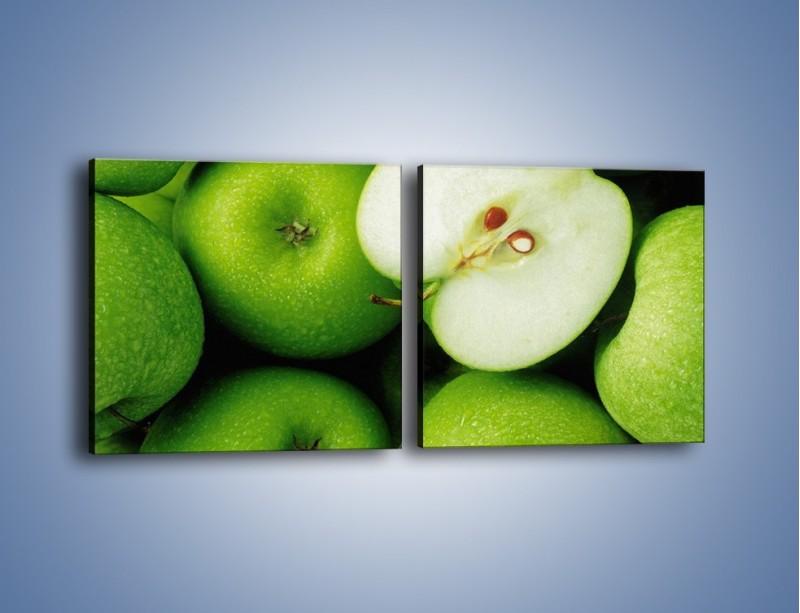 Obraz na płótnie – Zielone jabłuszka – dwuczęściowy kwadratowy poziomy JN039