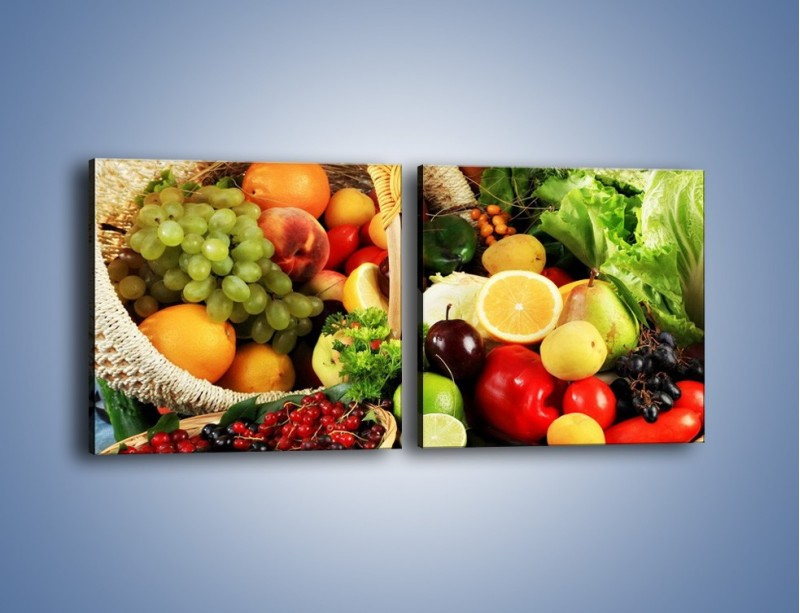 Obraz na płótnie – Kosz pełen owocowo-warzywnego zdrowia – dwuczęściowy kwadratowy poziomy JN059