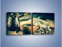 Obraz na płótnie – Czarna kawa arabica – dwuczęściowy kwadratowy poziomy JN064