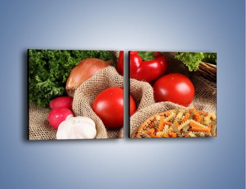 Obraz na płótnie – Makaron z warzywami – dwuczęściowy kwadratowy poziomy JN076