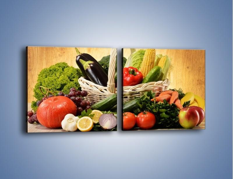 Obraz na płótnie – Kosz pełen warzywnych witamin – dwuczęściowy kwadratowy poziomy JN081