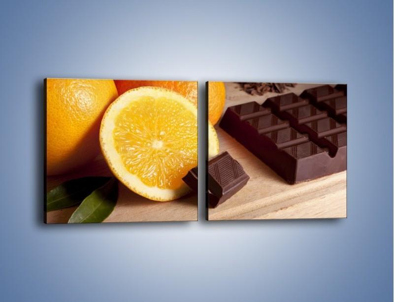Obraz na płótnie – Czekoladowo-pomarańczowa rozkosz – dwuczęściowy kwadratowy poziomy JN094
