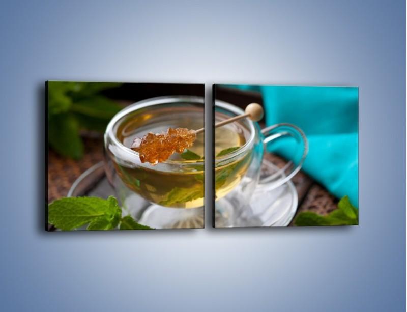 Obraz na płótnie – Oczyszczająca zielona herbata – dwuczęściowy kwadratowy poziomy JN104