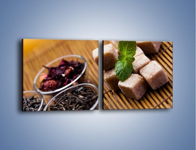 Obraz na płótnie – Ususzone bogactwa natury do herbaty – dwuczęściowy kwadratowy poziomy JN105