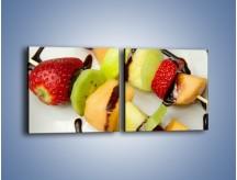 Obraz na płótnie – Czekoladowo-owocowe szaszłyki – dwuczęściowy kwadratowy poziomy JN112