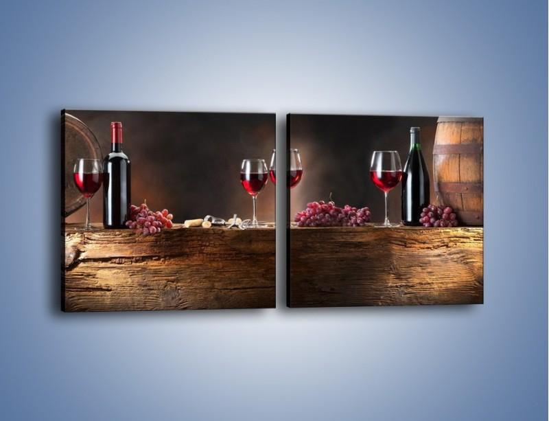 Obraz na płótnie – Beczuszki czerwonego wina – dwuczęściowy kwadratowy poziomy JN142
