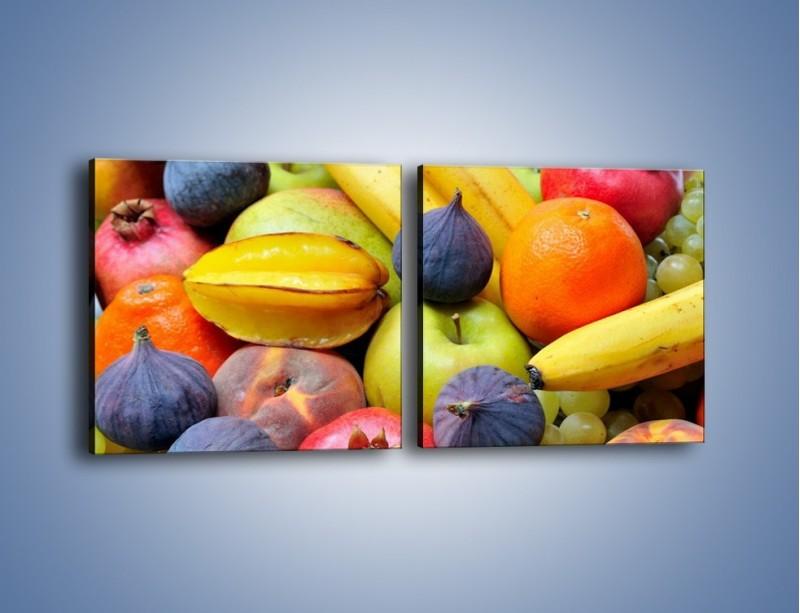 Obraz na płótnie – Owocowe kolorowe witaminki – dwuczęściowy kwadratowy poziomy JN173