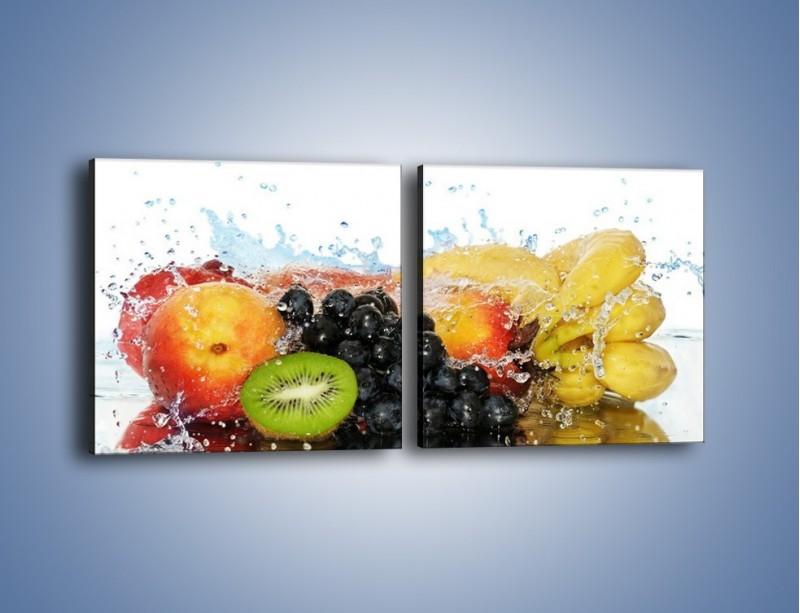 Obraz na płótnie – Owocowe nuty skąpane w wodzie – dwuczęściowy kwadratowy poziomy JN176
